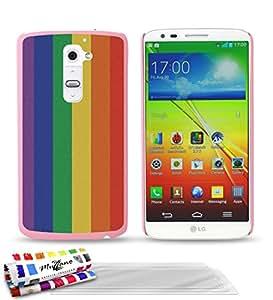 """Carcasa Rigida Ultra-Slim LG G2 de exclusivo motivo [Bandera del arco iris] [Rosa] de MUZZANO  + 3 Pelliculas de Pantalla """"UltraClear"""" + ESTILETE y PAÑO MUZZANO REGALADOS - La Protección Antigolpes ULTIMA, ELEGANTE Y DURADERA para su LG G2"""