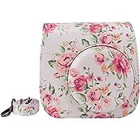 Elvam White Flower Floral PU Leather Fujifilm Instax Mini 9 / Mini 8 / Mini 8+ Instant Film Camera Case Bag w/ a Removable Bag Strap