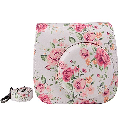 Elvam White Flower Floral PU Leather Fujifilm Instax Mini 9