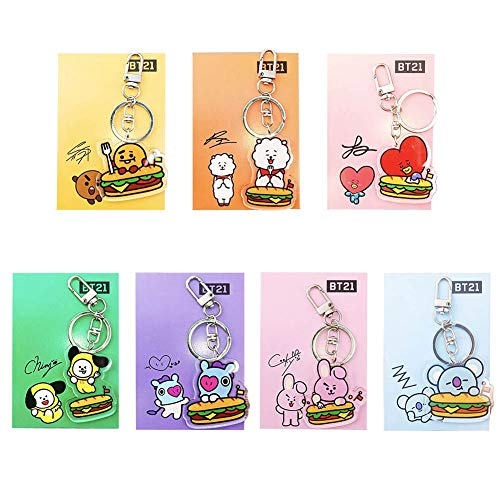 Nuofeng - Kpop BTS Keychain Cartoon Image Acrylic Creative Key Ring Pendant Bag Decoration Hot Gift for A.R.M.Y(B-7PCS)