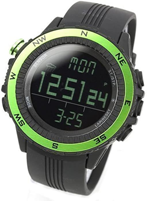 [LAD WEATHER] Sensor alemán Altímetro Barómetro Brújula digital Pronóstico del tiempo Hombre Reloj de pulsera Retroiluminación Alarma Calendario