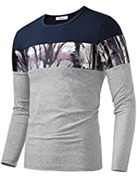 "<span class=""a-offscreen"">[Sponsored]</span>Men's Floral Print Contrast Color Crew Neck Casual T-Shirt Top"