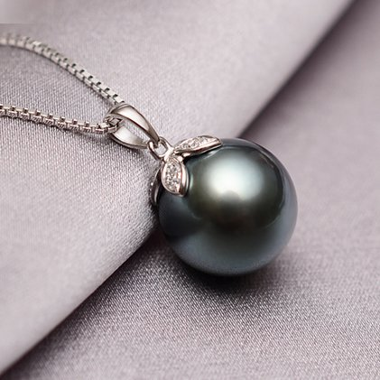 11-12mm Tahitian pearl necklace pendant natural seawater pearl necklace pendant perfect circle