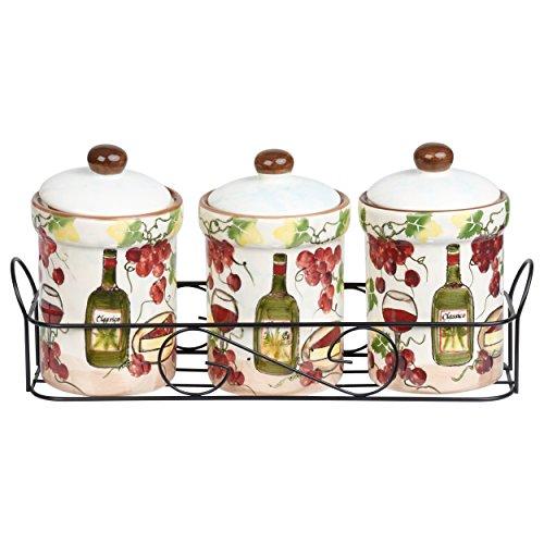 Grape Ceramic - Lorren Home Trends P2068 Purple Grape Ceramic 3 Piece Jar Set in Stand,