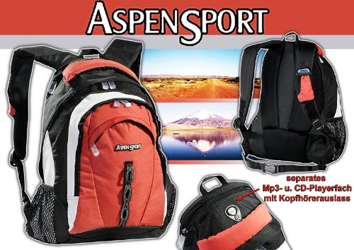 AspenSport Rucksack Sevilla, schwarz/rot, 48 x 38 x 20 cm, 30 Liter, AB06B05