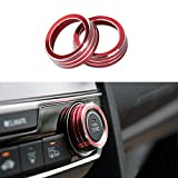 JKCOVER 2pcs Anodized Aluminum AC Climate Control Ring Knob Covers For 2016 2017 10th Gen Honda Civic - Red