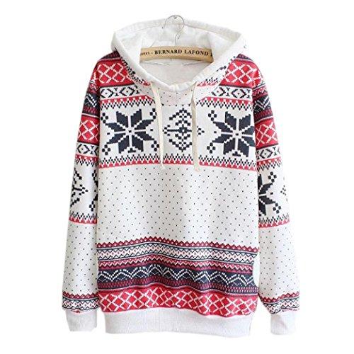 Fheaven Women Long Sleeve Christmas Hoodie Sweatshirt Jumper Sweater Hooded Pullover (3XL, White)