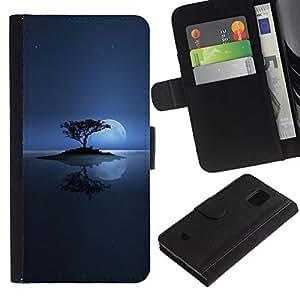 All Phone Most Case / Oferta Especial Cáscara Funda de cuero Monedero Cubierta de proteccion Caso / Wallet Case for Samsung Galaxy S5 Mini, SM-G800 // Lonely Moon Lake
