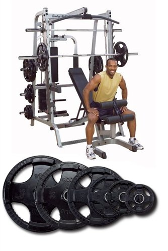 Body Solid Series 7 Smith System With FID Bench And 255 lb Rubber Olympic (255 Series)