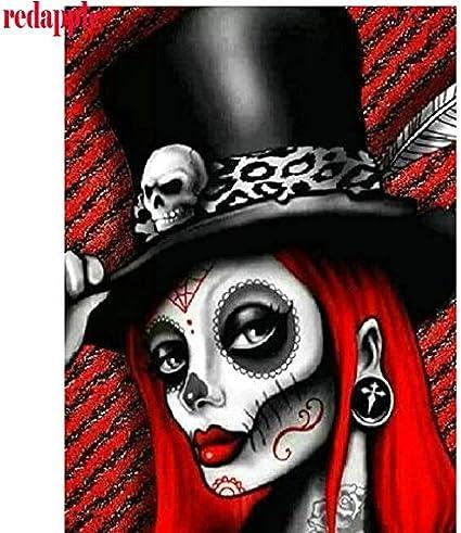 FHGFB 5D DIY Diamante Pintura número Kit niña cráneo Bordado Punto de Cruz Arte artesanías Lienzo decoración de la Pared Regalo Redondo Diamante sin Marco -40x50cm