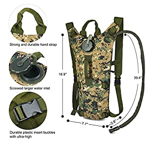 Vbiger Hydration Pack with 3L Bladder Water Bag Great for Hunting Climbing Running and Hiking (Camouflage 3, One Size)