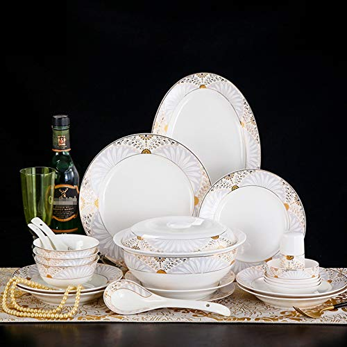 China Platinum Tureen - YLee Bone China Dinner Set - 46 Pieces of European Style Cutlery/Chinese Healthy Cutlery/Sturdy Cutlery Set Anniversary