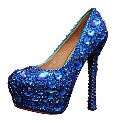Miyoopark ,  Damen Plateau Blue-14cm Heel