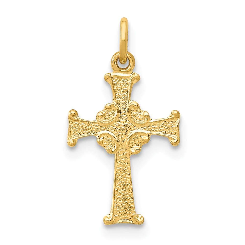 Solid 14k Yellow Gold Celtic Cross Pendant Charm 10mm x 18mm
