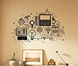 Power of Knowledge Wall Decal Vinyl Sticker Computer Technology Learning Process Home Wall Art Decor (29nsc)