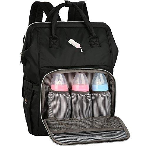 Diaper Bag Backpack Designer with Stroller Straps & Changing Pad (Black)