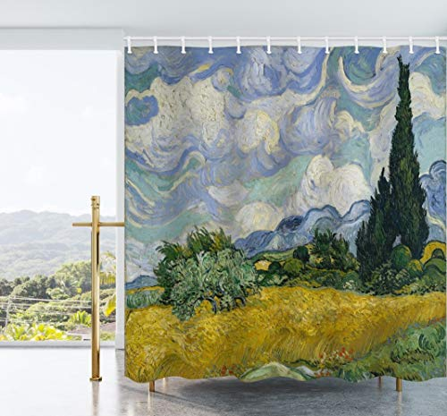 d with Cypresses Shower Curtain Van Gogh Waterproof Polyester Fabric Bathroom Decor Set with Hooks 72X72Inch (Green) ()