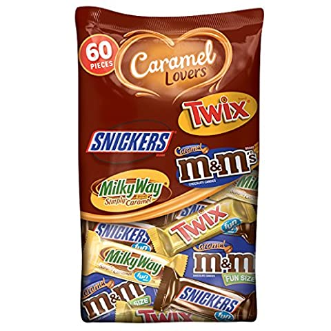 MARS Chocolate Caramel Lovers Fun Size Candy Bars Variety Mix 37.64-Ounce 60-Piece Bag - Fall Assorted Chocolates