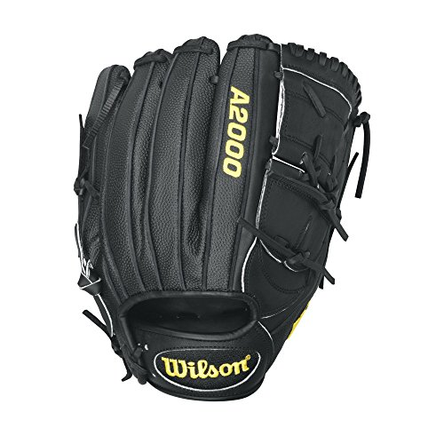Wilson A2000 B2SS Superskin Pitcher Baseball Glove, Black, Right Hand Throw, 12-Inch (12' Baseball Leather Glove)