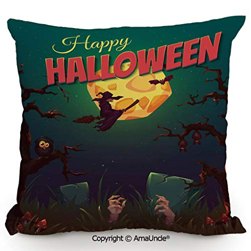 SCOXIXI Decorative Square Throw Pillow Case with Cotton and Linen,Happy Halloween Poster Design Witch On Broom Mushroom Dead Resurgence Vintage Decorative,W16xL16 Inches]()