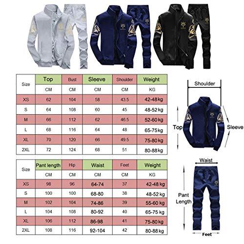 Manches shirt 2 Jogging Homme Pantalons Loisir Gris Sweat Longues Sports Survêtement Zipper Pièces I4wpq6