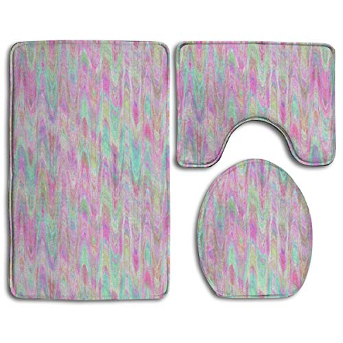 Marbled Paper Pink Mint Sherbet Watercolor 3pc Soft Comfort Flannel Bathroom Mats,Non Slip Absorbent Toilet Seat Cover Bath Mat Lid Cover Set Carpet Rugs