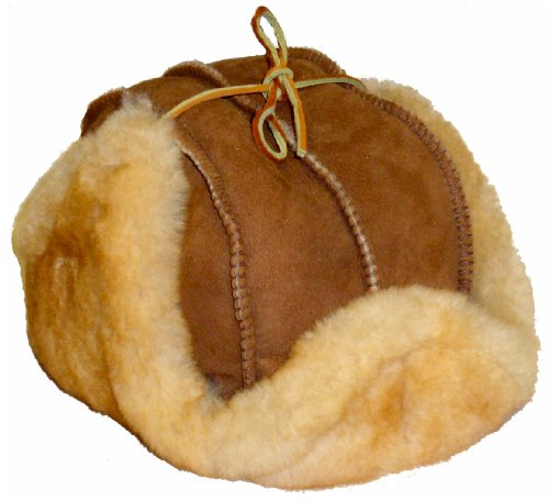 VillageShop Sheepskin Trooper Hat X-Large Stony Tan
