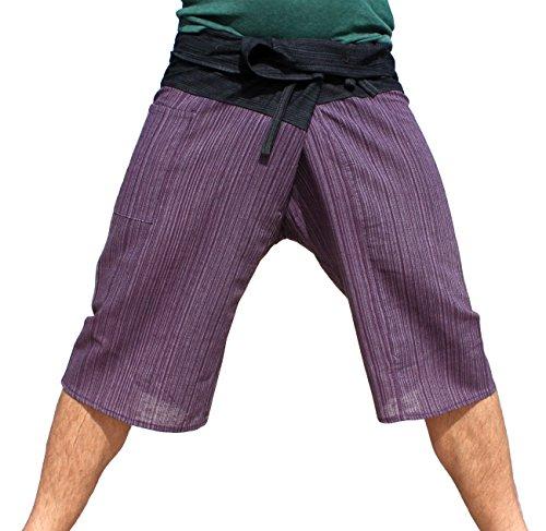 Raan Pah Muang Thin Striped Cotton Two Tone Fisherman Capri Wrap Pants