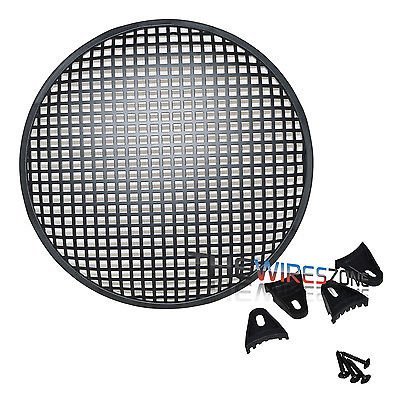 """The Wires Zone 12"""" Steel Speaker Subwoofer Sub Woofer Waffle Mesh Grill Cover w/Clips & Screws"""