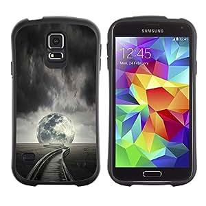 Pulsar iFace Series Tpu silicona Carcasa Funda Case para Samsung Galaxy S5 , Luna piena Notte Nuvole Railroad Campo Orizzonte