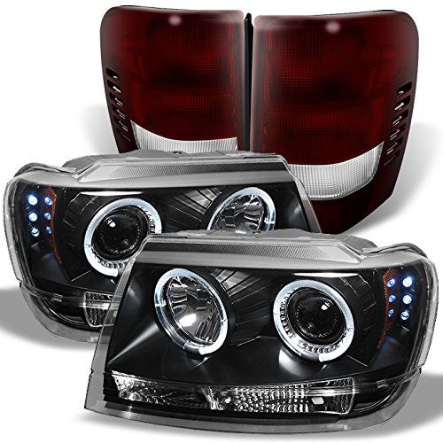 For 1999-2004 Grand Cherokee Dual LED Halo Projector Black Headlights + Dark Red Tail Light Lamp