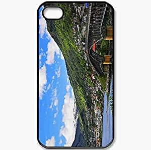 Protective Case Back Cover For iPhone 4 4S Case Summer Mountains River Bridge Home Black