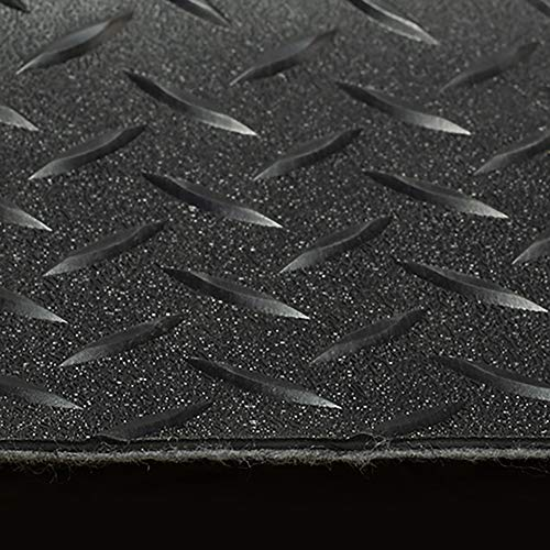 RV Trailer Diamond Plate Pattern Flooring | Black | 8' 2'' Wide | Rubber Flooring | Garage Flooring | Gym Flooring | Toy Hauler Flooring | Car Show Trailer Flooring (Black, 5') by RecPro (Image #1)