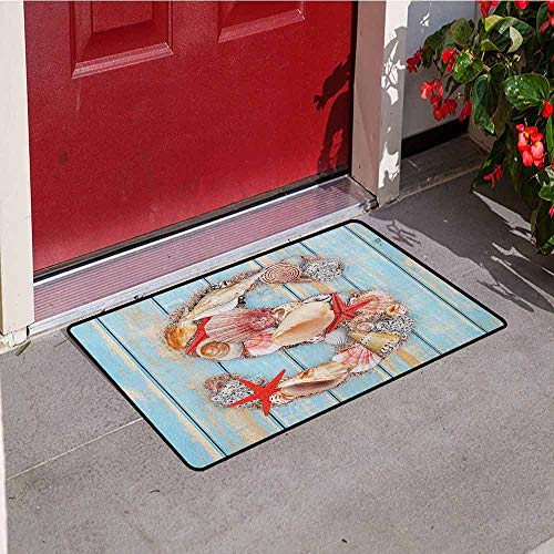 - Gloria Johnson Letter S Front Door mat Carpet Various Seashells Scallops Starfishes on Wooden Planks Nautical Machine Washable Door mat W31.5 x L47.2 Inch Pale Blue Ivory Dark Coral