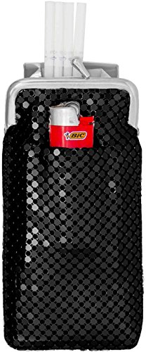 Black Vintage Luxuriant Soft Metallic Mesh (Full Pack 100s) Womens Cigarette & Lighter (Black Cigarette Lighter)