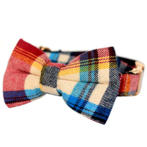 csspet Red and Blue Plaid Cat and Dog Collar Bow Tie, Handmade Dog Bow tie Necklace for XS Small Dog Cat