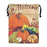 Custom Drawstring Bag,Welcome-Pumpkins Holiday/Party/Christmas Tote Bag 15.7(H)x 11.8(W) in