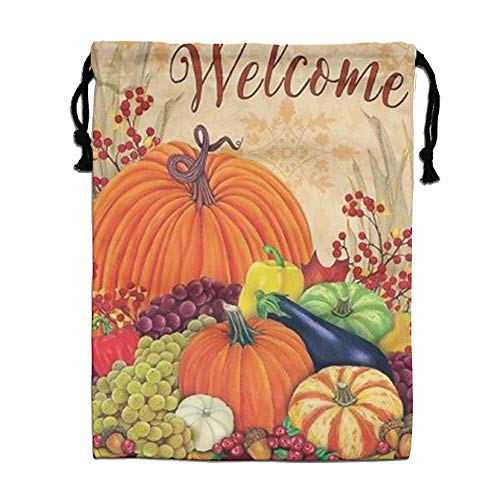 Custom Drawstring Bag,Welcome-Pumpkins Holiday/Party/Christmas Tote Bag 15.7(H)x 11.8(W) in by DFGTLY