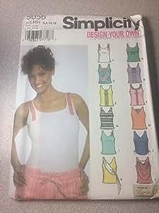 Patrón de costura Simplicidad 5056, Misses 'Diseño su propio Knit Tank Tops con Trim Variaciones, tamaño HH (6,8,10,12)
