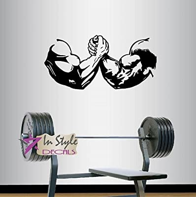 Wall Vinyl Decal Home Decor Art Sticker Arm Wrestling Sports Strong People Men Bodybuilder Sportsman Gym Fitness Room Removable Stylish Mural Unique Design