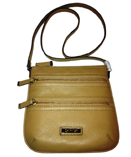 Calvin Klein Pebbled Leather Messenger Style Crossbody Bag, Camel