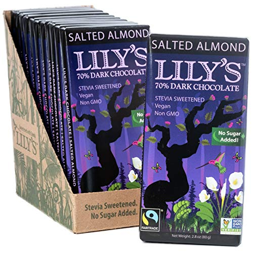 Salted Almond Dark Chocolate Bar by Lily's Sweets | Stevia Sweetened, No Added Sugar, Low-Carb, Keto Friendly | 70% Cacao | Fair Trade, Gluten-Free & Non-GMO | 2.8 ounce, 12-Pack