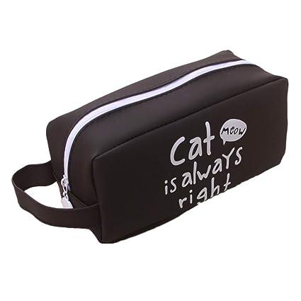 Estuche de lápices a Prueba de Agua diseño de Gatos con Mango, Bolsa de Embrague