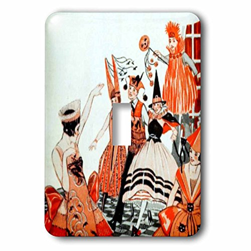 (3dRose TNMPastPerfect Halloween - Vintage Orange and Black Halloween Party - Light Switch Covers - single toggle switch)