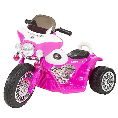 3 Wheel Mini Motorcycle Trike for Kids, Battery Powered Ride on Toy by Rockin ' Rollers – Toys for Boys and Girls, 2 - 5 Year Old – Police Car Pink
