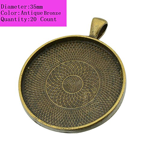 AKOAK 20 Pieces 35mm Diameter Antique Bronze Round Pendant Trays Pendant Blanks Cameo Bezel Cabochon Settings for Photo Charm or Cabochon
