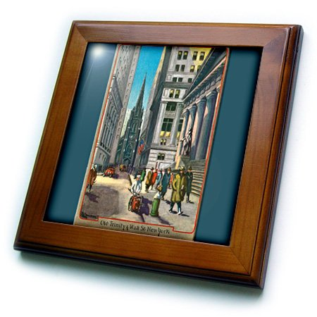 (3dRose ft_170143_1 Old Trinity and Wall Street New York City-Framed Tile Artwork, 8 by 8-Inch )