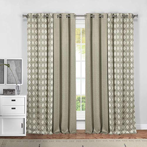 (Kelvin - Kaelee Narrow Stripe Linen Grommet Top Window Curtains for Living Room & Bedroom - Assorted Colors - Set of 4 Panels (37 X 84 Inch - Linen))