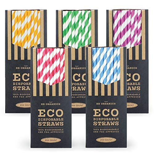 SB Organics Eco-Friendly Paper Drinking Straws, Biodegradable and Compostable for Parties, Birthdays, Weddings - 1000 Pack Mixed]()