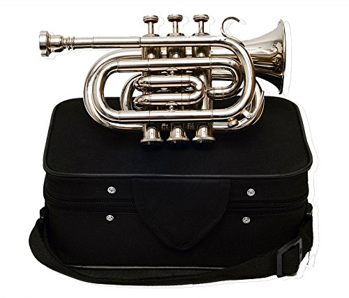 MST POCKET TRUMPET Bb PITCH NICKEL SILVER WITH FREE CASE + MP